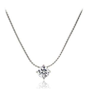 Small single crystal silver necklace